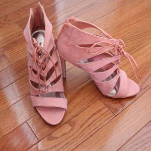 Pink cages heels with laces